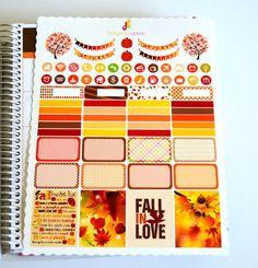 70 Falling Leaves Fall Sticker Set , Erin Condren Stickers , Life Planner Stickers!!