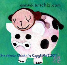 PiG Cow Monkey Art   5 X 7 Matted  Art Print  PiGGY by ArtChiz, $19.99
