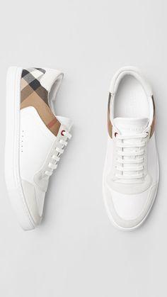 9809febc4 Zapatillas deportivas en piel y algodón de House Checks (Blanco Óptico) -  Hombre