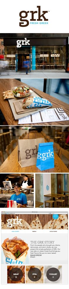 grk greek restaurant #identity #packaging #branding PD. If you like UX, design, or design thinking, check out theuxblog.com