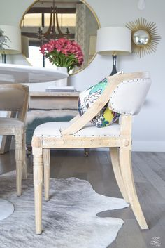 Carved Oak Wooden Dining Chair Round Gold Mirror Gray cowhide rug white tulip table-1