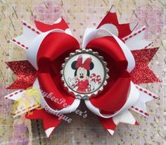 Minnie Mouse Christmas hair bows Candy Cane headband bottle cap boutique hair clip girls cute photo prop xmas red white stripes polka dots