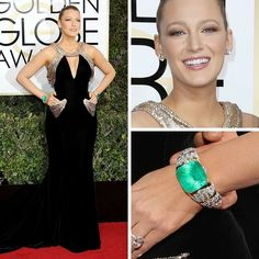 Blake Lively @blakelively shined very brightly with her Lorraine Schwartz @lorraineschwartz statement emerald and diamond bracelet cuffs and 30 carat diamond stud earrings. She wore a custom-made Atelier Versace @versace_official gown with gold sequined detailing for this year's Golden Globes.  #purplebyanki #diamonds #luxury #loveit #jewelry #jewelrygram #jewelrydesigner #love #jewelrydesign #finejewelry #luxurylifestyle #instagood #follow #instadaily #lovely #me #beautiful #loveofmylife…