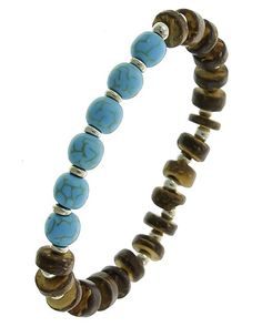 Rhodiumized / Brown Wood & Turquoise Stone / Lead&nickel Compliant / Metal / Stretch / Bracelet