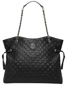 001aa35c2573 Tory Burch Marion Slouchy Black Quilted Leather Tote 8% off retail