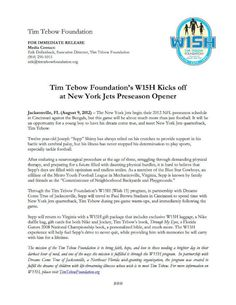 Read about the Tim Tebow Foundation's first W15H recipient of the 2012-2013 NFL season