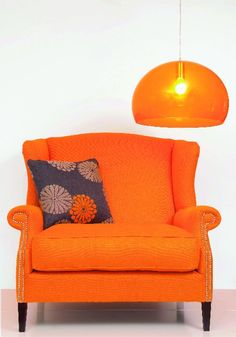 Orange Chair: love the lamp! - You really have to like orange. Orange Is The New Black, Yellow And Brown, Red And Blue, Living Room Seating, My Living Room, Orange Twist, Orange Color, Small Sitting Areas, Orange House
