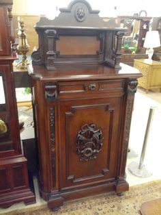 Antique Walnut Empire Music Cabinet #Empire