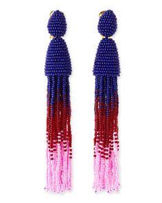 Y1ZTN Oscar de la Renta Long Ombre-Beaded Tassel Earrings, Blue/Red/Pink