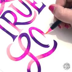 Blended lettering by Chrystal Elizabeth Chrystal Elizabeth using Life of Colour Watercolor Brush Pens on Canson XL Watercolor Paper - True Love 💜💕 Hand Lettering Tutorial, Hand Lettering Alphabet, Hand Lettering Quotes, Creative Lettering, Lettering Styles, Brush Lettering, Caligraphy Alphabet, Calligraphy Video, Calligraphy Drawing