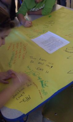 Tabletop Twitter - Take a short passage from a and glue to a large piece of bulletin board paper.  Set a timer and there is no talking: only moving around to read what each other writes and responding back to each other.  The teacher gets to jump in too!  Students respond to the passage and each other.