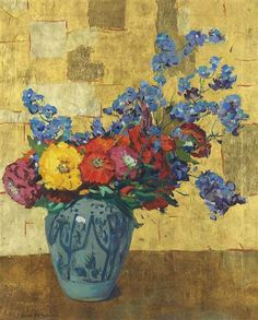 """""""Summer Flowers (Gold & Blue),"""" Jane Peterson,  oil and gold leaf on canvas, 30.5 x 24"""", private collection."""