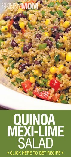 Quinoa Mexi-Lime Salad: 4 1/2 cups cooked quinoa 1 can black beans, rinsed + drained 1 can yellow corn, rinsed + drained 2/3 cup red bell pepper, diced 6 scallions, chopped (whites and greens) 1/4 cup tightly packed cilantro, chopped 1 large jalapeno, remove seeds and dice 1/3 cup lime juice 1 1/2 tsp salt 2 Tbsp cumin 2/3 cup olive oil S to taste