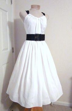 Vintage 1950s Style Dress White Bridal Beach by TenderLane on Etsy, $175.00