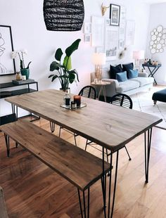 home Reclaimed Wood & Metal Dining Table - Farmhouse Table, Rustic Dining Table Reclaimed Wood Dining Table, Dining Table With Bench, Industrial Dining, Rustic Table, Hairpin Dining Table, Dining Tables, Dining Room Design, Farmhouse Table, Apartment Living