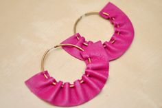 Melody's Addiction fuschia leather hoops