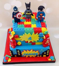 lego superhero birthday party for marvel cake decorations . Lego Superhero Cake, Lego Batman Cakes, Marvel Cake, Lego Cake, Minion Cakes, Cake Minecraft, Avengers Birthday Cakes, 5th Birthday Cake, Superhero Birthday Cake