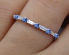 Diamond and Sapphire Wedding Band Anniversary Band by MRoseDesign