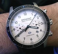 Baselworld 2014: Bremont Watches Model 247 Boeing chronograph watch on the wrist. Part of the Bremont/Boeing relationship, the watch will go for $6750 - See more Bremont watch articles, keep up on social media with our Baselworld 2014 coverage with #ABTWBaselworld2014, and see all our Basel 2014 articles on aBlogtoWatch.com