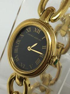 Laura Ashley Gold Tone Swiss Roman Numerals Ladies Oval Face Watch 680 | eBay
