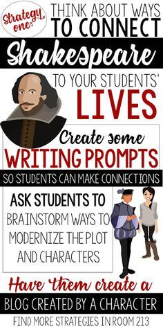 I loved this idea for teachers to bear in mind, keeping the students in mind and creative ways to modernize the characters. I think giving the students that creative license to the characters. I will definitely use this in my classroom too! Education English, Teaching English, English Resources, English Activities, English Language, Language Arts, Ap English, English Reading, Gcse English