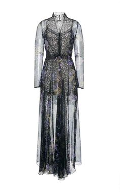 This **Etro** dress features a plunging neckline, lace insets, and a flared skirt.