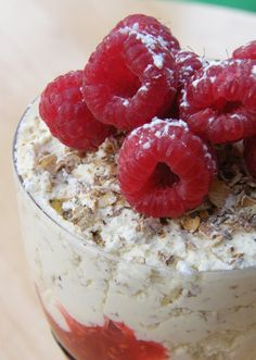 Cranachan :a Scottish dessert made with cream, raspberries, honey, whisky and oats. 2 cups double (heavy) cream-1 cup porridge oats- 4 tbsp whisky-3 tbsp honey-2 cups raspberries- 4 tbsp icing sugar