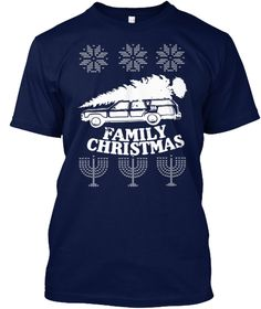 Family Christmas Hoodie Navy T-Shirt Front