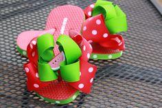 Watermelon flip flops - missprissbowtique1.etsy.com