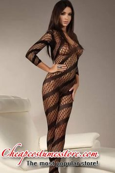 ab760ecf1 Diagonal Fishnet Crotchless Bodystocking Cheaply Sale Hot Brunette