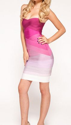 a24846e931a Whoinshop Women s Rayon Fading Color Strapless Bodycon Party Cocktail  Bandage Dress Pink S