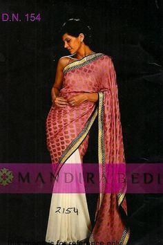 Buy Online Mandira Bedi Pink n White Color Bollywood Replica Saree at Best Price in India.