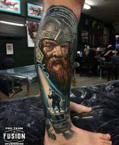Amazing realistic color tattoo style of Gimli motive from The Lord of The Ring movie done by tattoo artist Ben Kaye Ring Tattoos, 3d Tattoos, Best Sleeve Tattoos, Unique Tattoos, Beautiful Tattoos, Body Art Tattoos, Cool Tattoos, Tattoo Legs, Tatoos