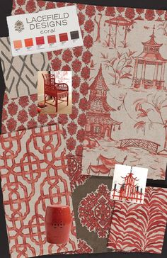 Asian Home Decor, delightfully stunning decorating, kindly study the pin example reference 8335426168 now. Chinoiserie Wallpaper, Fabric Wallpaper, Fabric Board, Fabric Combinations, Asian Home Decor, Textiles, Red Rooms, Red Interiors, Miniatures