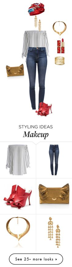 """""""Untitled #140"""" by nc-young on Polyvore featuring Chicwish, J Brand, Dee Di Vita, Oscar de la Renta, Hera and Jimmy Choo"""