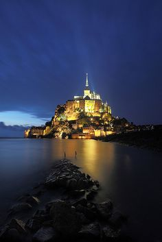 Blue hour in Mont-Saint-Michel, France