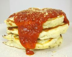Pizza Pancakes! Weird, but I must try! 2 cups Bisquick (I used Heart Healthy)  2 teaspoons Italian seasoning  1/4 tsp red pepper flakes  2 eggs  1 cup milk  1 1/2 cup shredded mozzarella cheese  1/2 cup chopped pepperoni (I used turkey pepperoni)  1 cup sausage, cooked and crumbled  1/4 cup mushrooms, sliced  pizza sauce, warmed