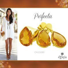 Luce perfecta con este precioso juego de oro amarillo de 18K con Obsidianita miel. ¡Brilla con Effigia! #JoyasHechasAMano #Oro #Outfit