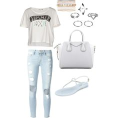 Mall summer outfit by itisacs on Polyvore featuring polyvore, fashion, style, ONLY, Frame Denim, L.K.Bennett, Givenchy and Lane Bryant