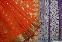 Orange Gold & Purple Hand woven Banarsi Cotton Silk Saree w/Blouse pc…