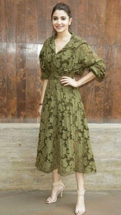 Yay or Nay? Anushka Sharma in this green lace midi dress Indian Designer Outfits, Designer Dresses, Indian Dresses, Indian Outfits, Modest Fashion, Fashion Dresses, Fashion Top, Stylish Dresses, Long Dresses