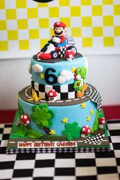 Amazing Mario Kart birthday cake something like this! maybe less details, and I have little mario kart figures to put on it, maybe a mushroom or star on top! Mario Birthday Cake, Super Mario Birthday, Boy Birthday, Birthday Parties, Birthday Cakes, Birthday Ideas, Mario Kart Cake, Mario Bros Cake, Mario Bros Kuchen
