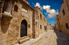 The Medieval buildings of the Avenue of the Knights where there were 7 different lodges for Knights speaking different languages. Rhodes, Greece, UNESCO World Heritage Site