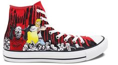 Red High Top Converse All Star Shoes Zombies Walking Dead Hand P