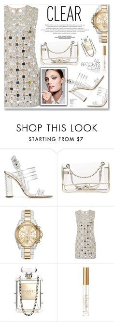 """""""clear"""" by nanawidia ❤ liked on Polyvore featuring Aperlaï, Chanel, Michael Kors, KaufmanFranco, clear, polyvoreeditorial and Seethru"""