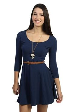 three quarter sleeve belted skater dress