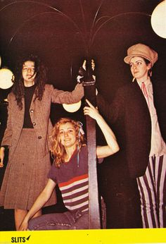 Ari Up, Viv Albertine and Tessa Pollitt of The Slits in a French magazine, circa 1980.