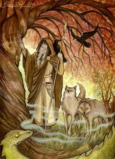 Odin and his guides. the Ravens, Huginn, Muninn, and Wolves, Geri and Freki. this is beautiful artwork. I see Jörmungandr at his feet also.and the tree must be Yggdrasil. World Mythology, Celtic Mythology, Thor, Loki, Art Viking, Symbole Viking, Pagan Art, Les Religions, Book Of Kells