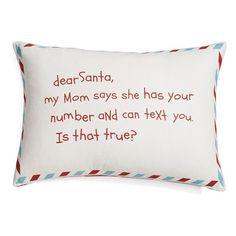 Nordstrom at Home 'Dear Santa' Pillow found on Polyvore featuring home, home decor and text santa