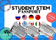 Great BACK TO SCHOOL Activity Complete a STEM activity based on a famous place AROUND the WORLD! Students can earn a STAMP in their STEM PASSPORT by completing different activities based on different COUNTRIES. Each TASK CARD can be printed back to back